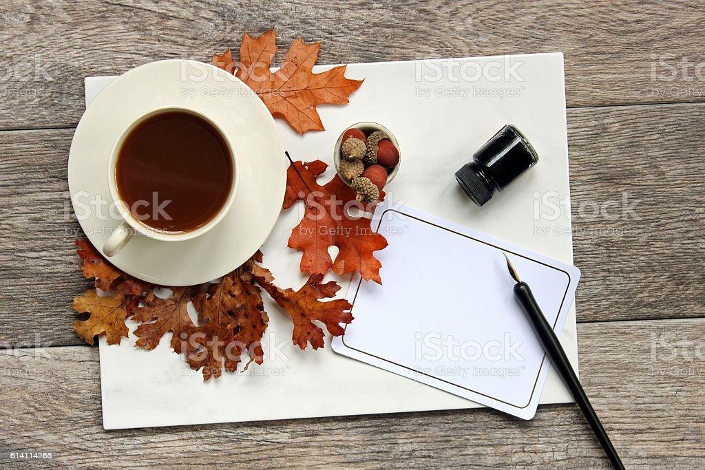 Autumn Morning Coffee stock photo