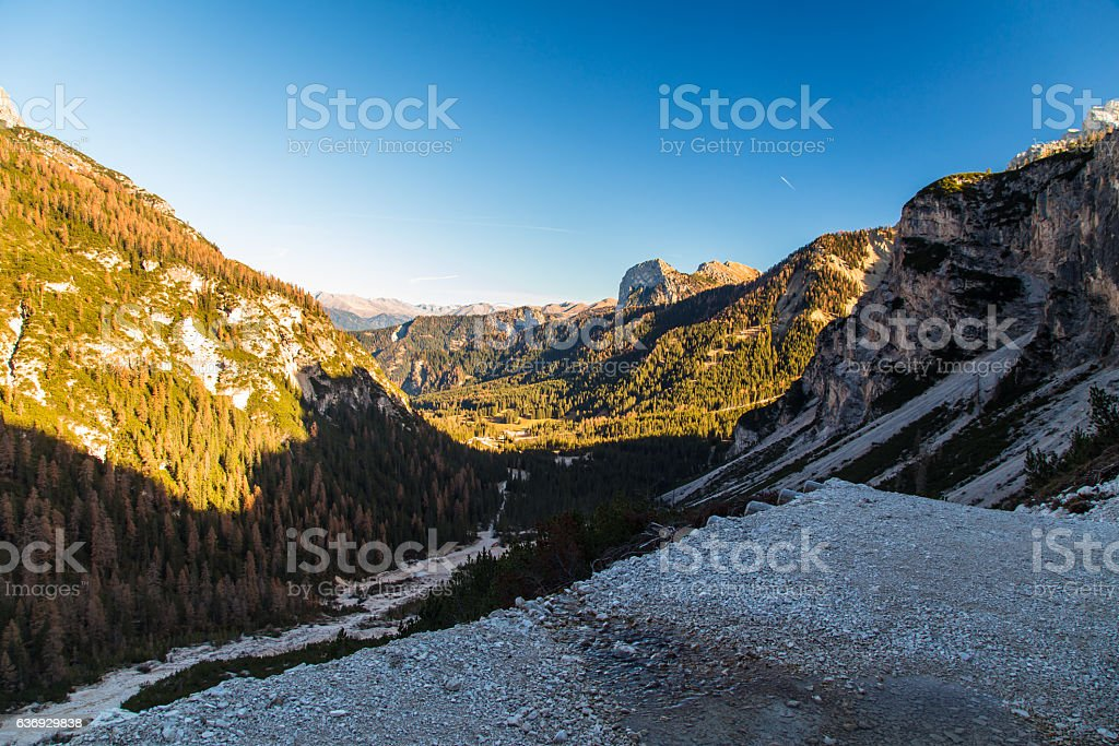 Autumn morning in the alps stock photo