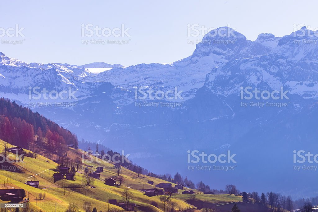 Autumn morning in the Bernese Oberland, Obersimmental, Wildstrub stock photo