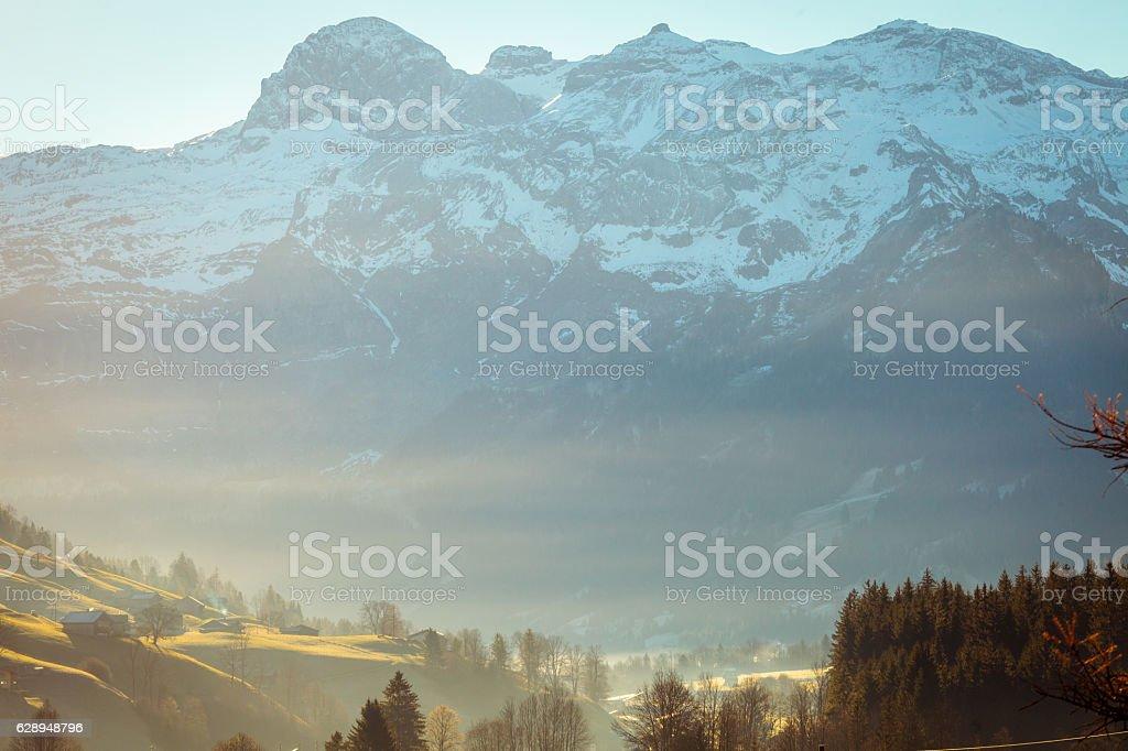 Autumn morning Landscape Lenk, Swiss Alps stock photo
