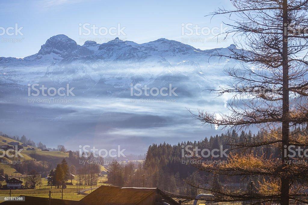 Autumn morning Landscape Swiss Alps stock photo