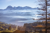 Autumn morning Landscape Swiss Alps