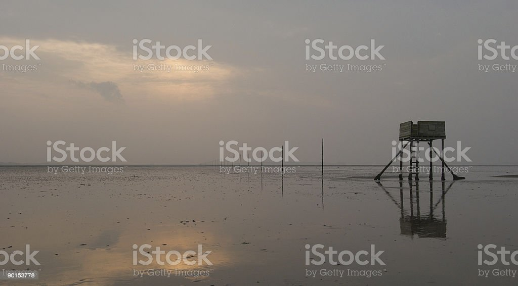 Autumn morning, Lindisfarne, Northumberland stock photo