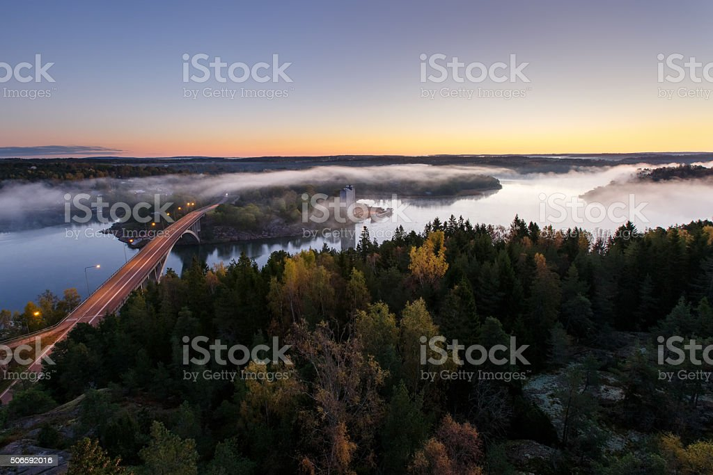Autumn morning on the river stock photo