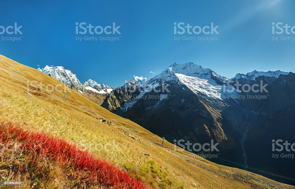Autumn mountain landscape in the Caucasus mountains, stock photo