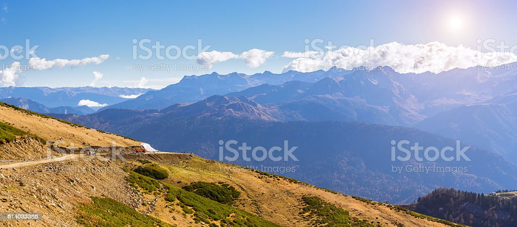 Autumn mountain landscape, Krasnaya Polyana, Sochi stock photo