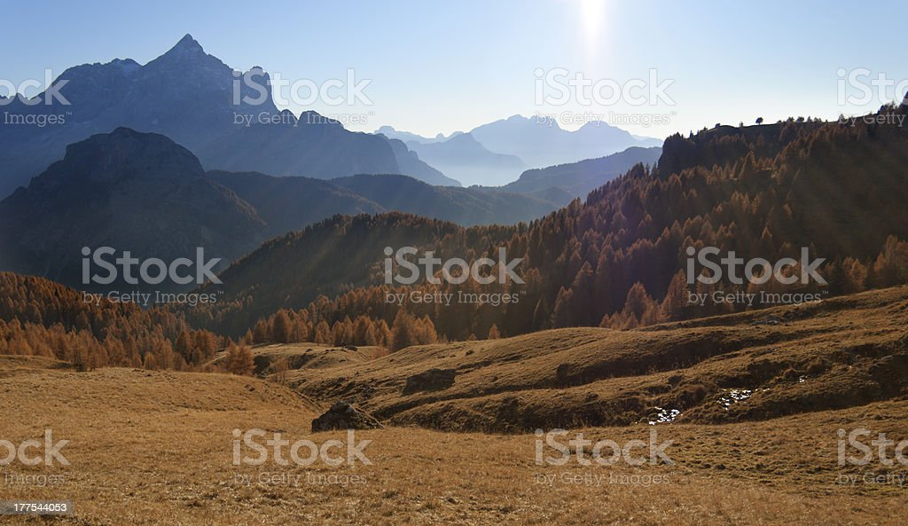Autumn mountain landscape with sunbeams royalty-free stock photo
