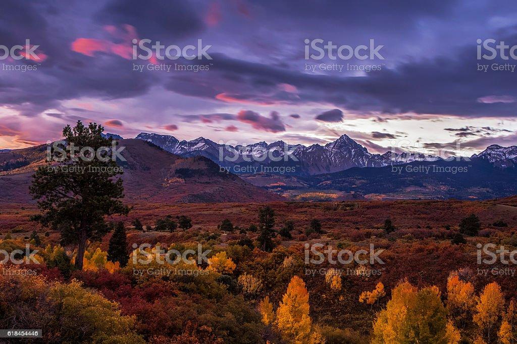 Autumn Mountain Sunrise stock photo