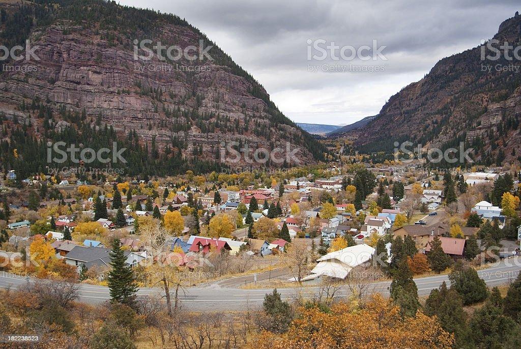 autumn mountain town landscape stock photo