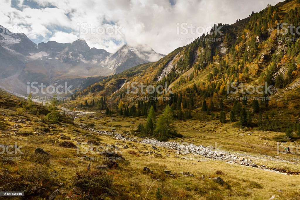Autumn mountain valley stock photo