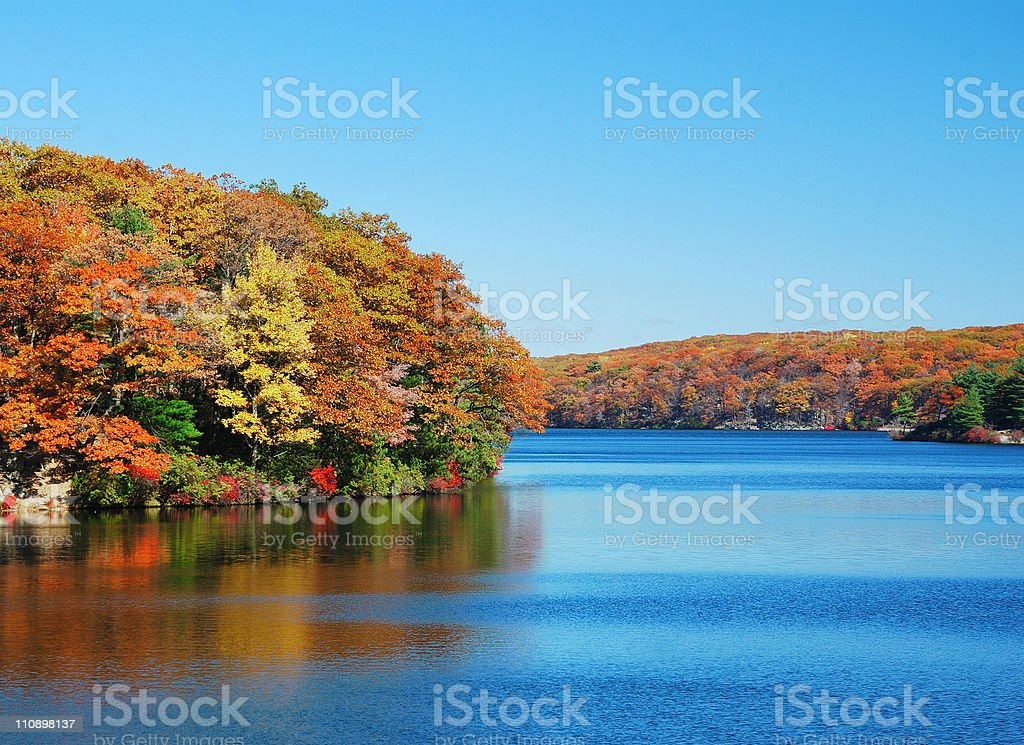 Autumn Mountain with lake stock photo