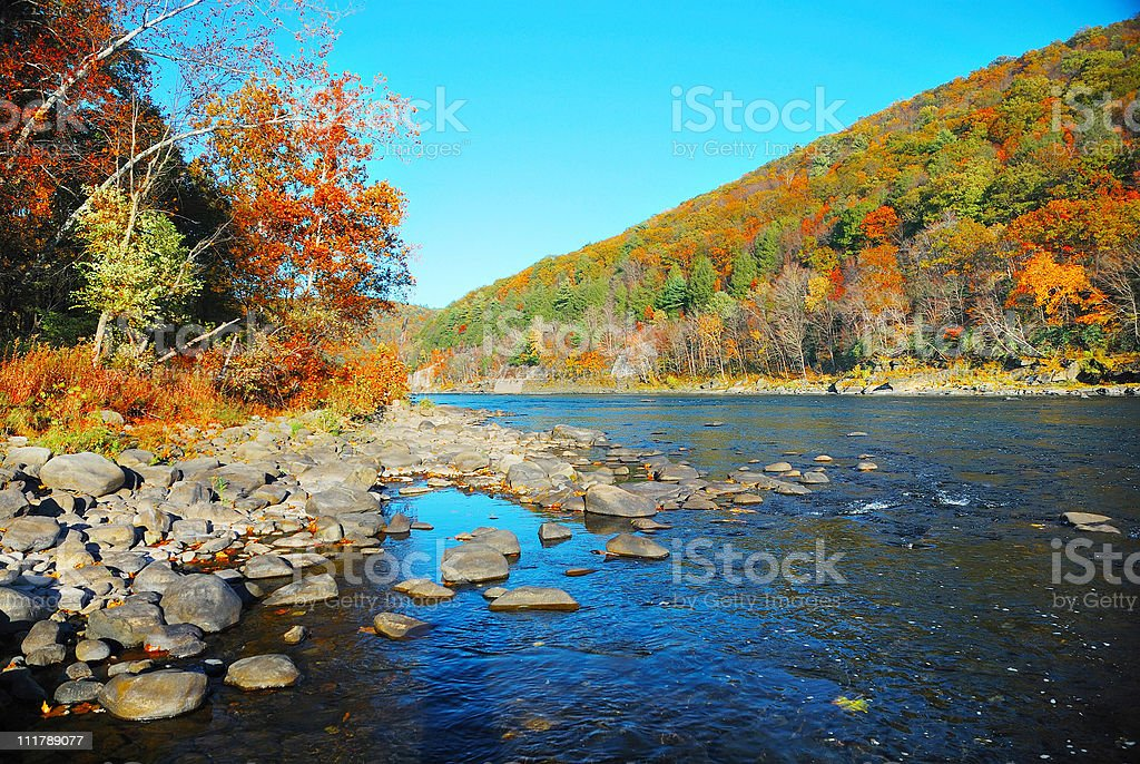 Autumn Mountain with River stock photo