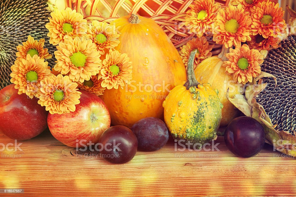Autumn nature concept. Fruit and vegetables on wood. stock photo
