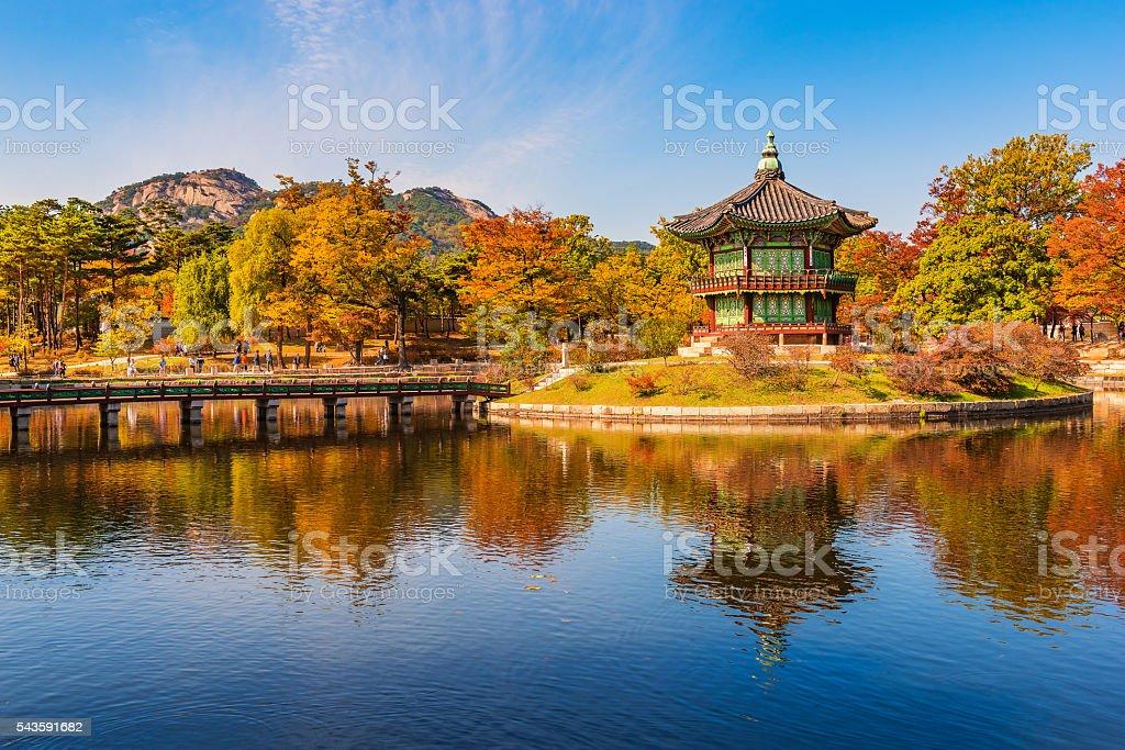 Autumn of Gyeongbokgung Palace in Seoul ,Korea stock photo