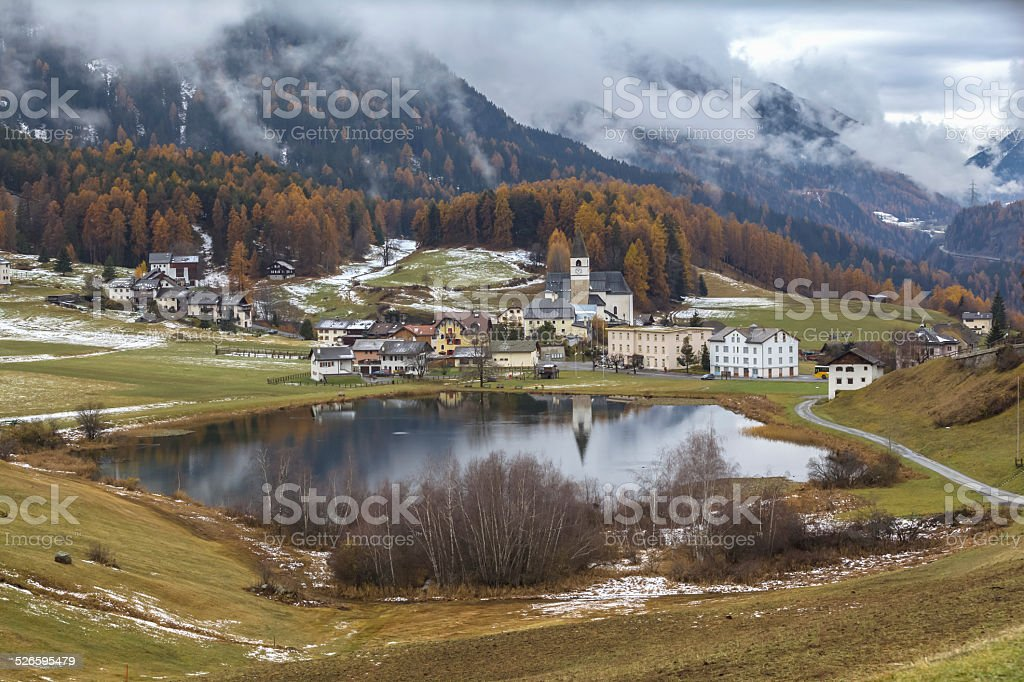 Autumn of Lai da Tarasp stock photo