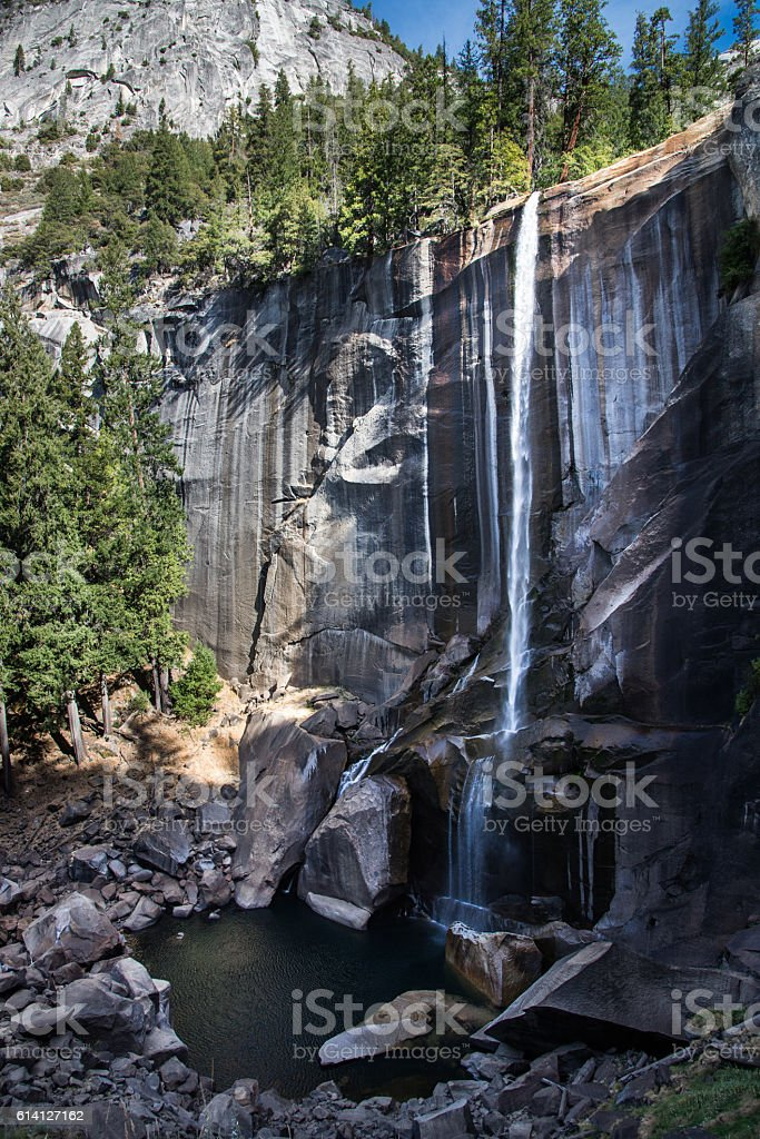 autumn of vernal fall, mist trail, Yosemite stock photo