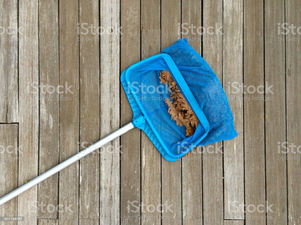 Autumn, Off Season, Cleaning swimming pool stock photo
