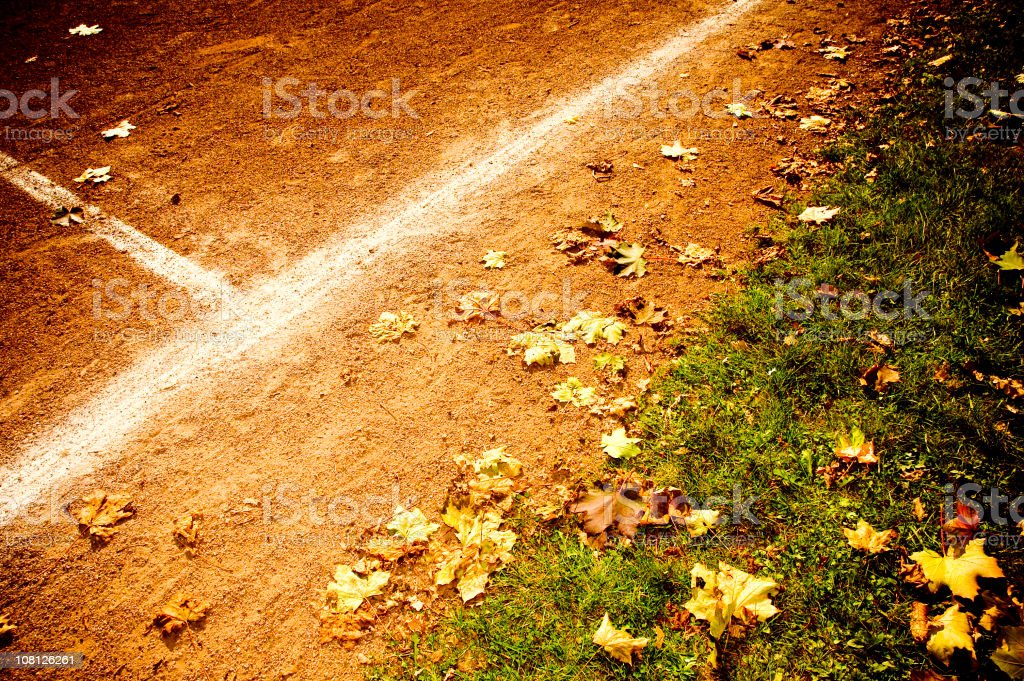 Autumn on a tennis field royalty-free stock photo