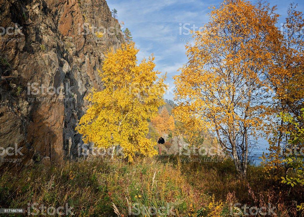 Autumn on Circum-Baikal Railway stock photo