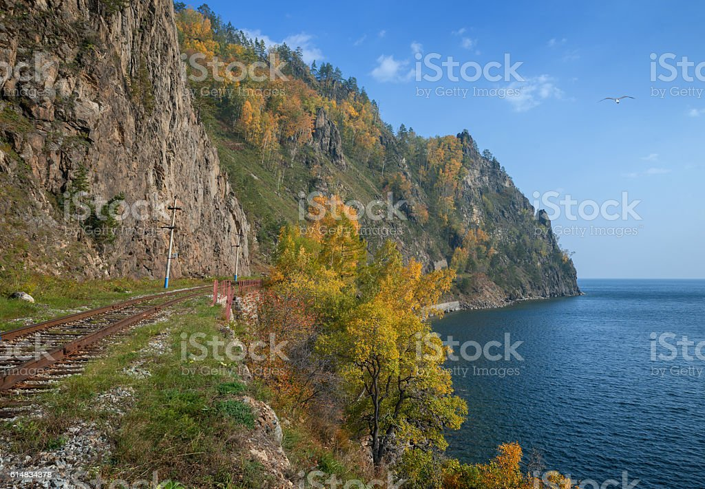 Autumn on Circum-Baikal Railway stock photo