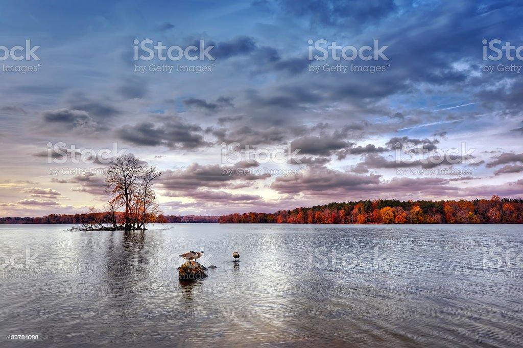 Autumn on Loch Raven stock photo