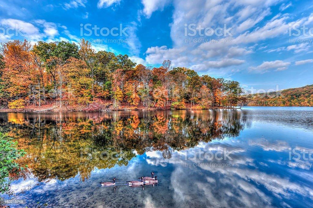 Autumn on Loch Raven Reservoir stock photo