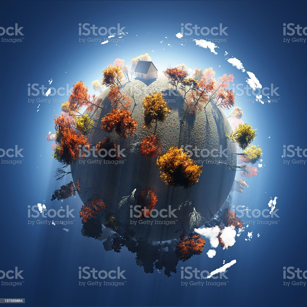 autumn on small planet stock photo