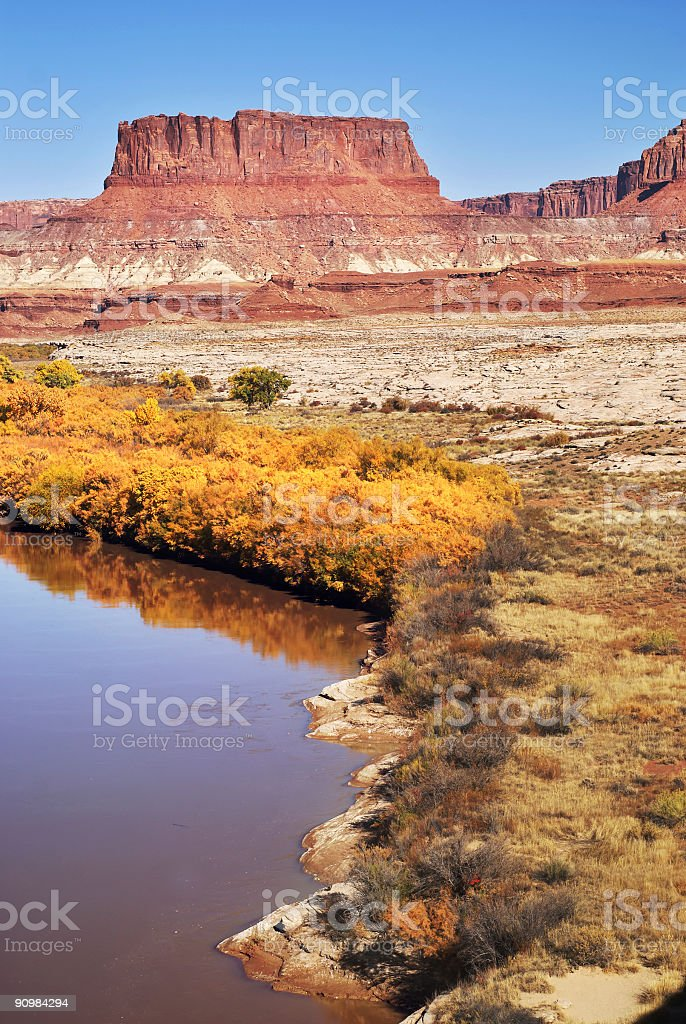 autumn on the green river stock photo
