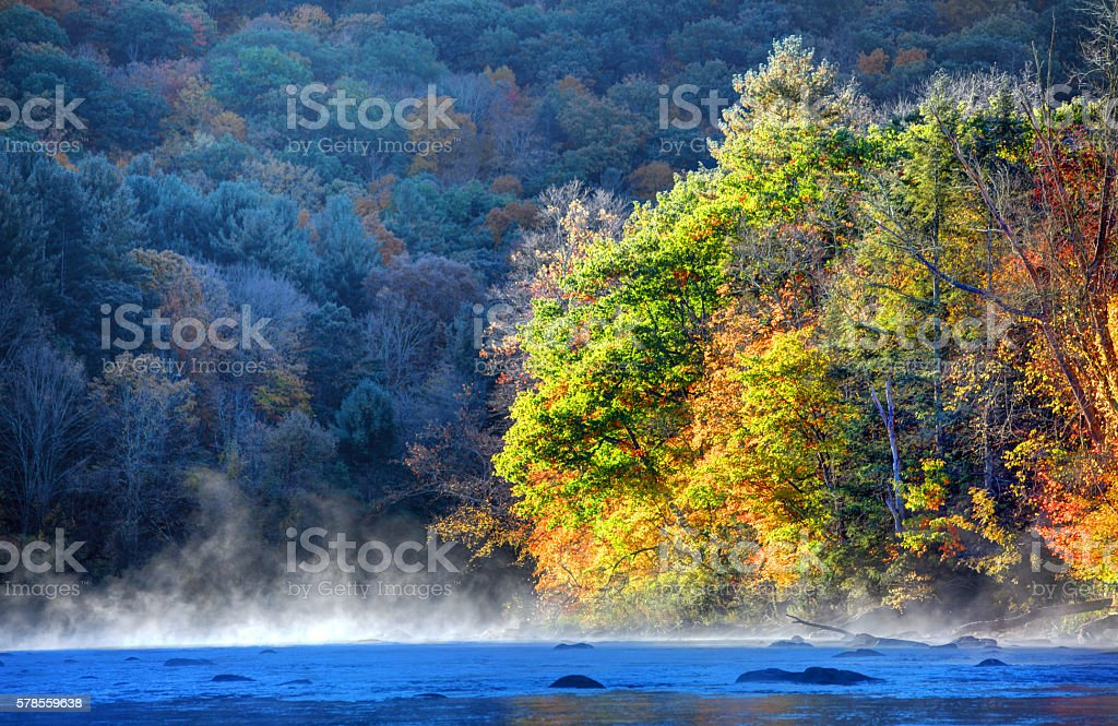 Autumn on the Housatonic River in the Litchfield Hills of Connecticut stock photo