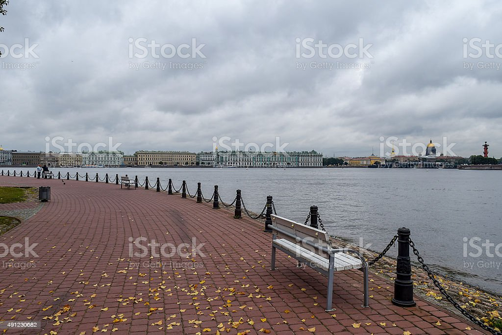 Autumn on the Neva river in St. Petersburg. stock photo