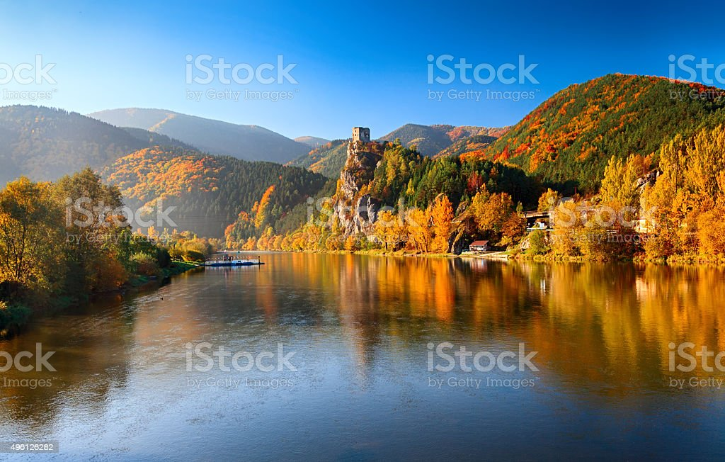 Autumn on Vag River, Slovakia stock photo