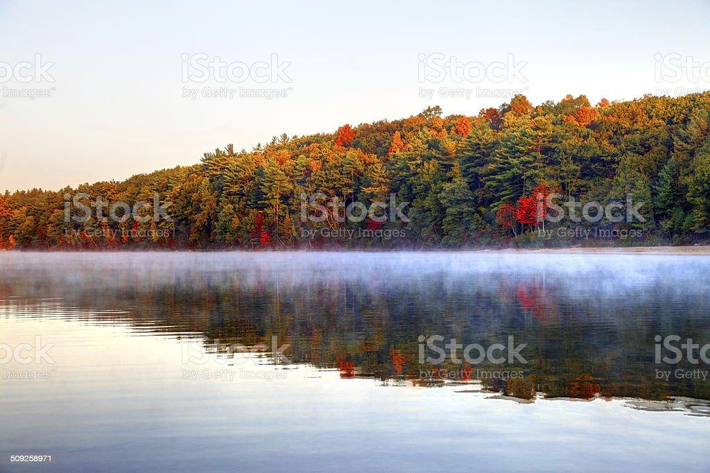 Autumn on Walden Pond stock photo