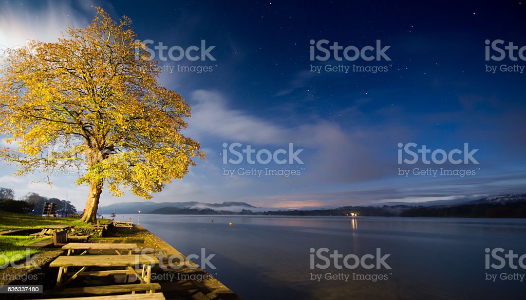 Autumn on Windermere Lake stock photo