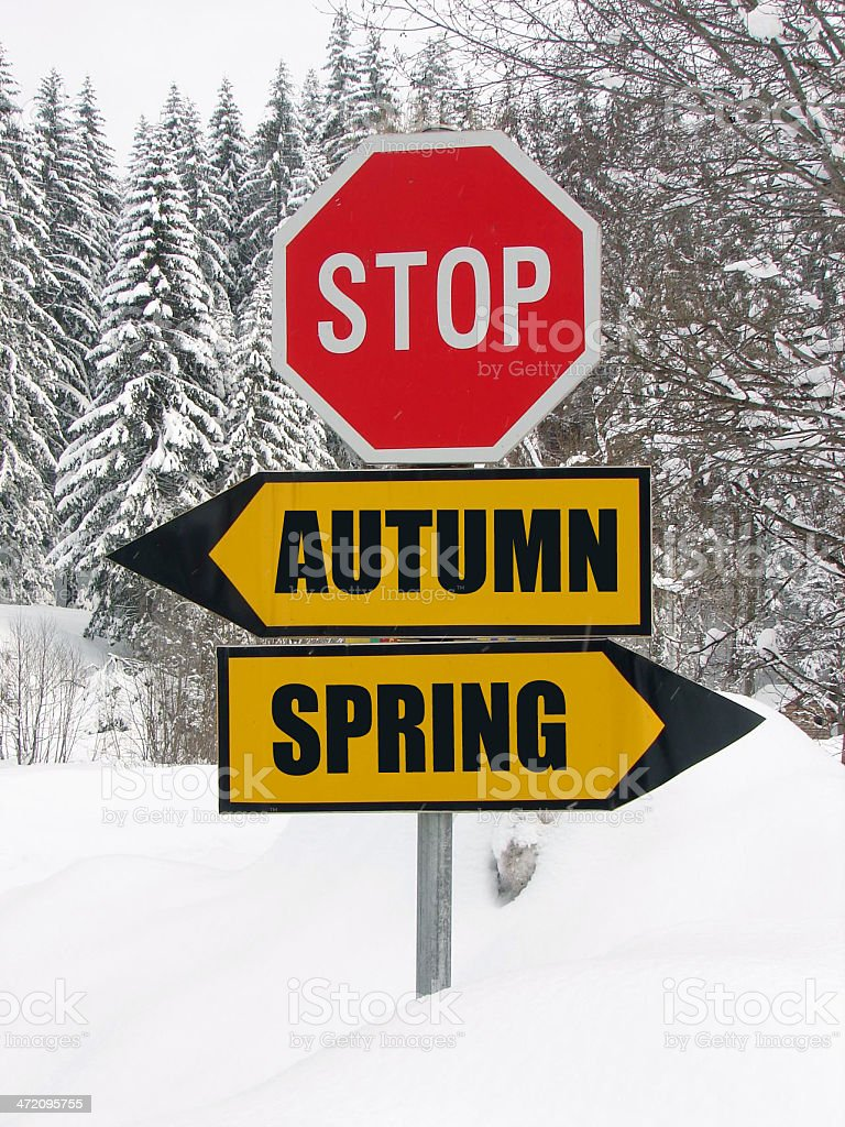 autumn or spring roadsign at cold winter day stock photo