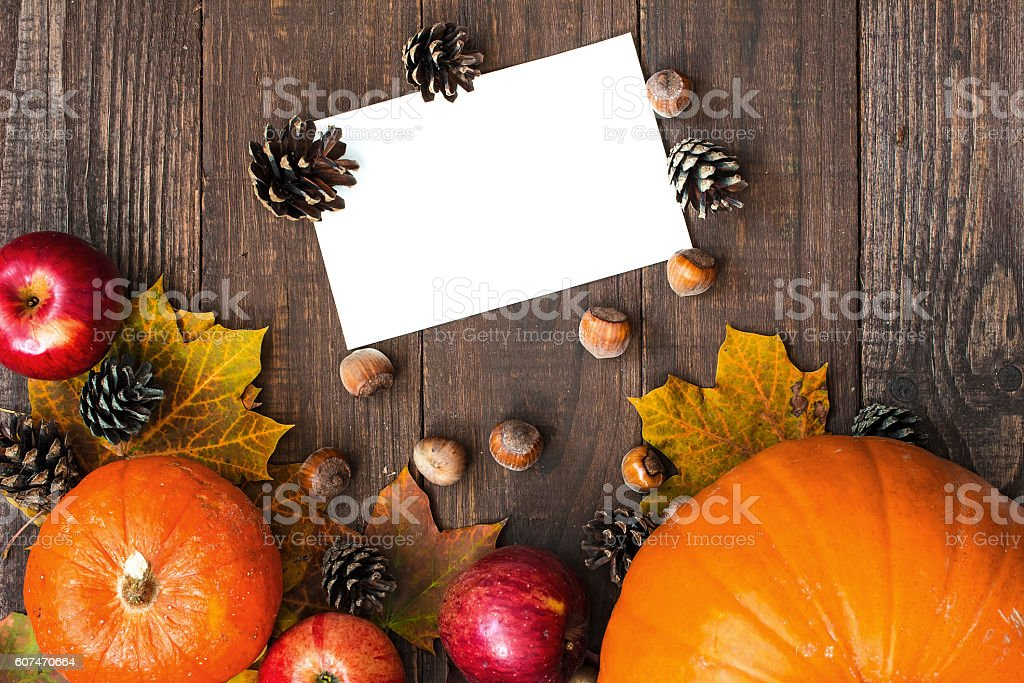 Autumn or thanksgiving greeting card with copy space stock photo