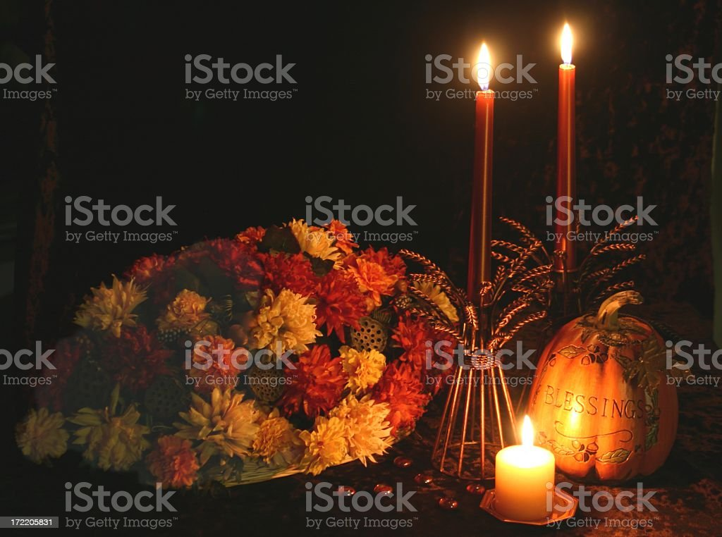 Autumn or Thanksgiving Table Series with candles, flowers, pumpkin royalty-free stock photo