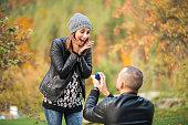 Autumn outdoor wedding proposal engagement
