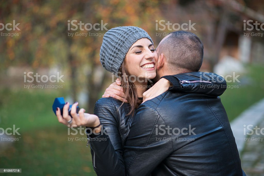 Autumn outdoor wedding proposal engagement stock photo