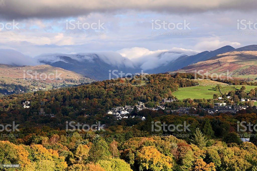 Autumn over Windermere Village stock photo