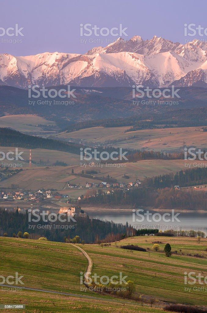 Autumn panorama of Tatra mountains and Czorsztynskie lake stock photo
