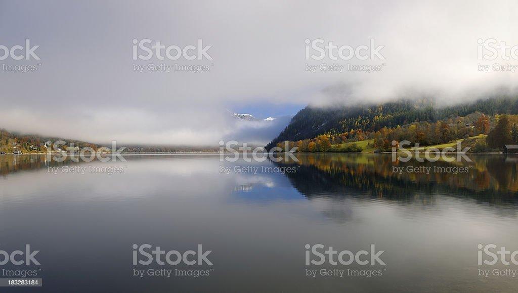 Autumn Panorama Reflection - Austrian Alps (XXXL) stock photo