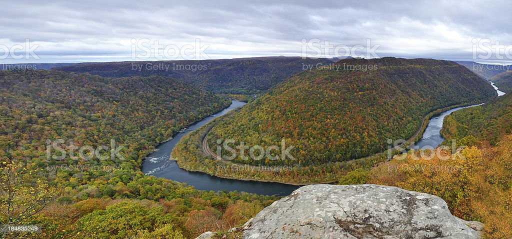 Autumn Panoramic of New River Gorge from Grandview Overlook, WV stock photo