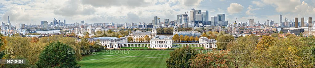 Autumn panoramic view to Greenwich and Canary Wharf in London stock photo