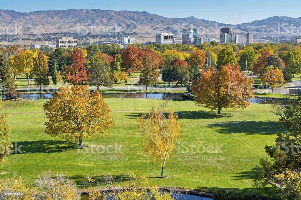 Autumn Park and Boise Idaho city skyline stock photo