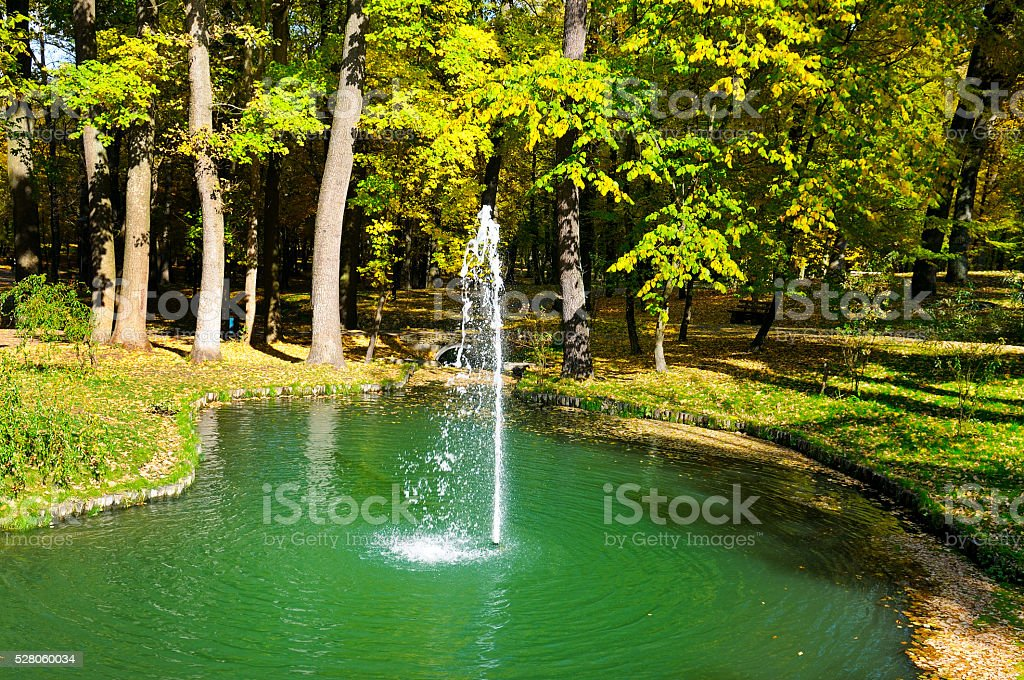autumn park, pond and small fountain stock photo