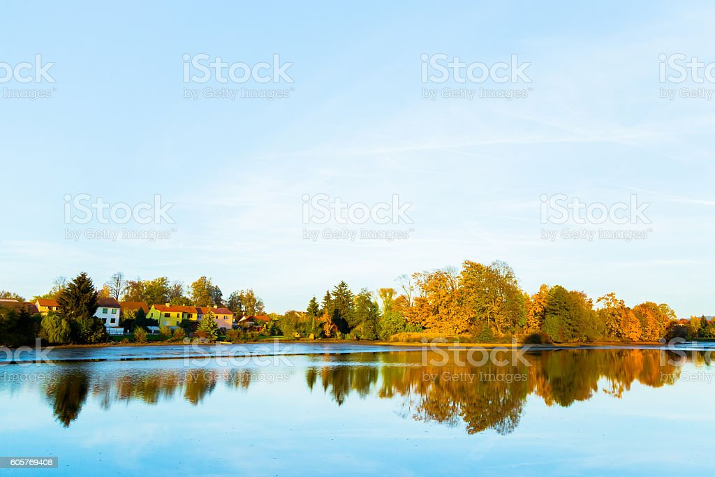 Autumn Park Reflections stock photo