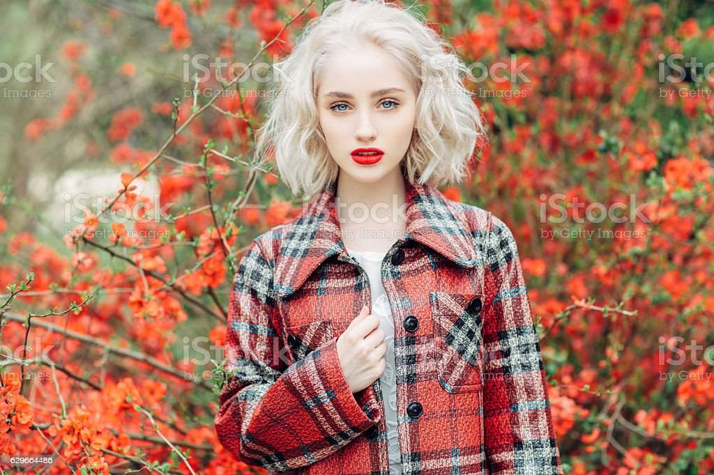 Autumn photo of beautiful girl stock photo