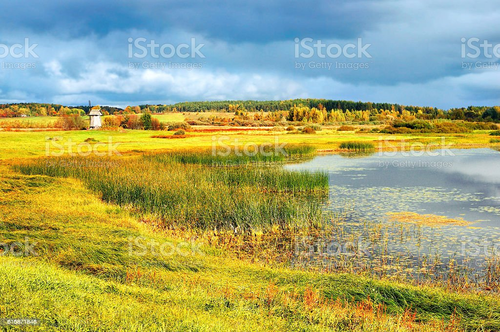 Autumn picturesque landscape- autumn view of autumn valley and river stock photo