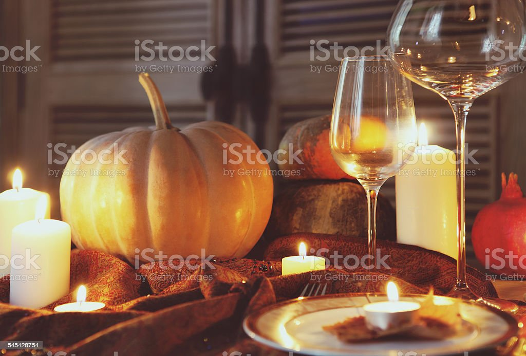 Autumn place setting. Thanksgiving dinner stock photo