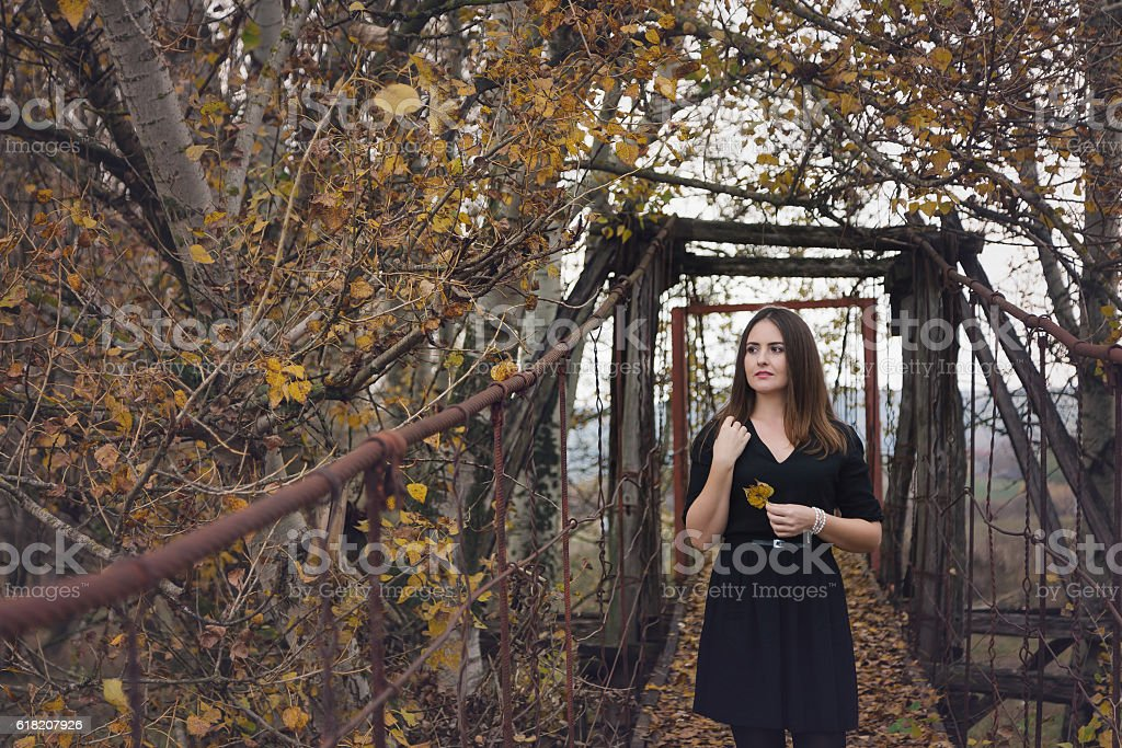 Autumn portrait of a young woman stock photo